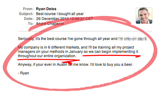 Kudos email from Ryan Deiss about ARM (2010)