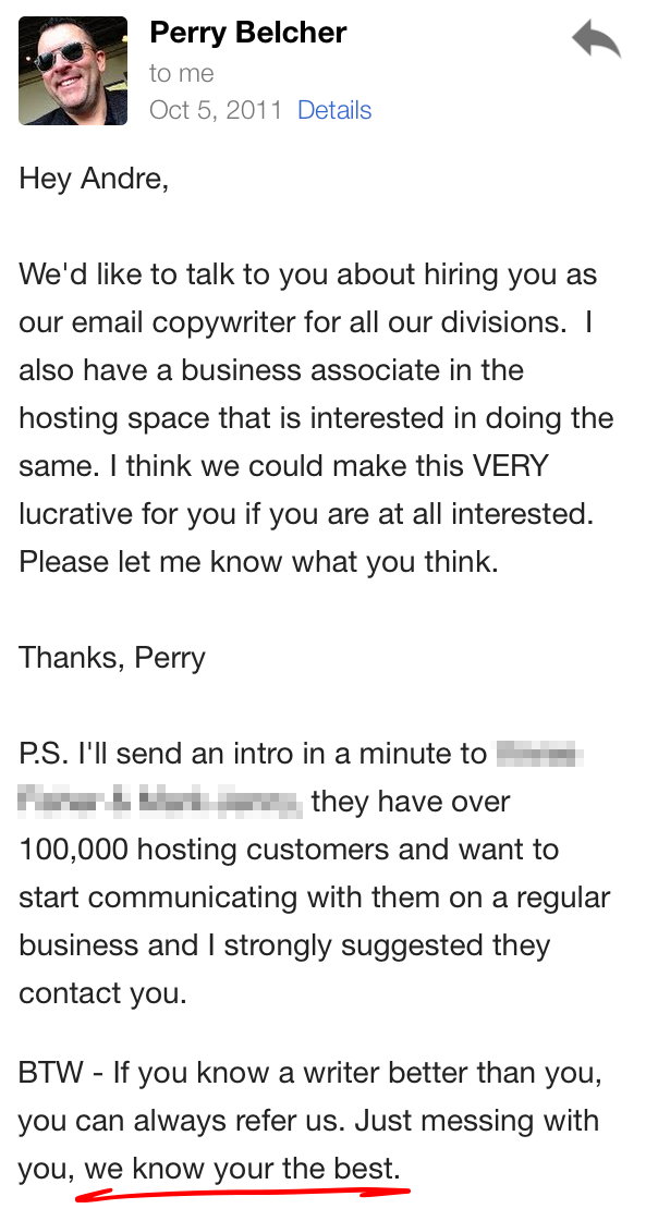 Email from Perry Belcher