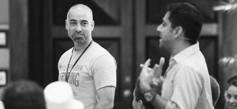 Andre Chaperon & Vishen Lakhiani, founder & CEO of Mindvalley, at Zentrepreneur & A-Fest (2013), Punta Cana, Dominican Republic