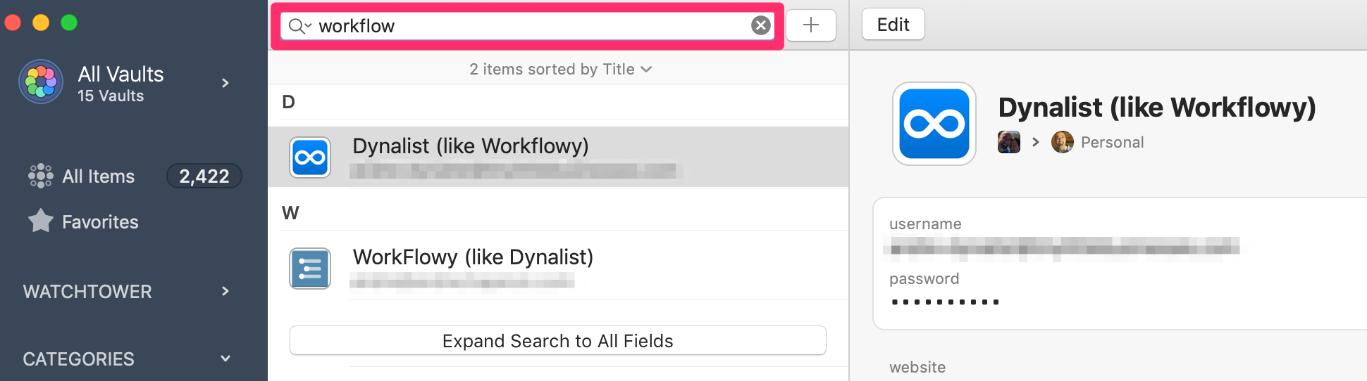 André's 1Password search and retrieve workflow
