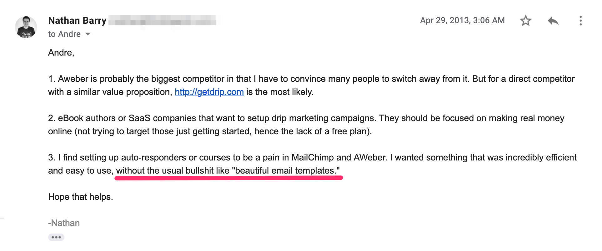 Email from Nathan Barry