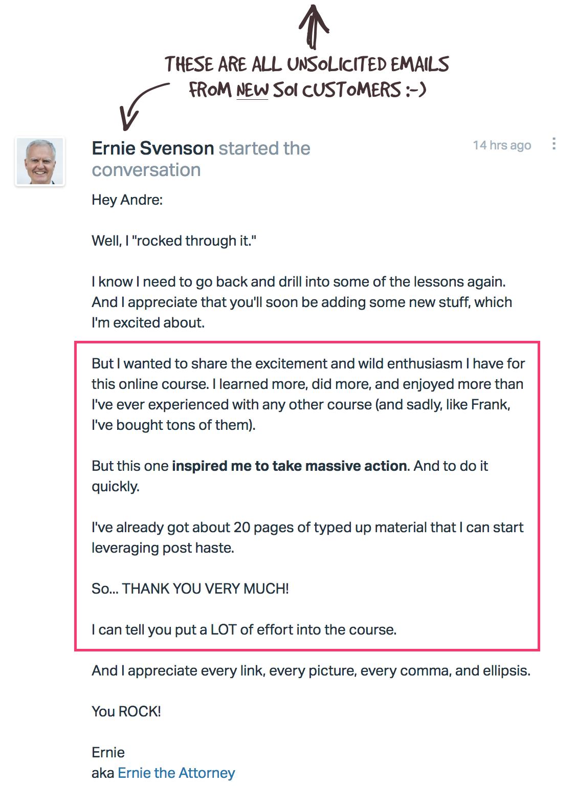 Kudos from Ernie Svenson