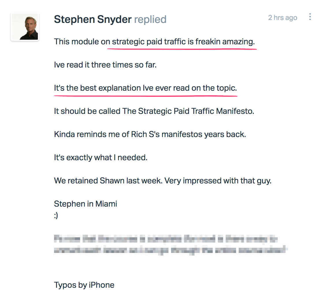 Kudos from Stephen Snyder
